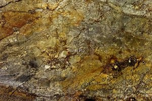 A golden brown granite with veins.