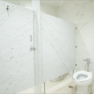 Photo of bathroom partitions at The Texan Theater in Greenville, Texas