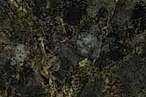 A green and black granite with grey and gold pieces.
